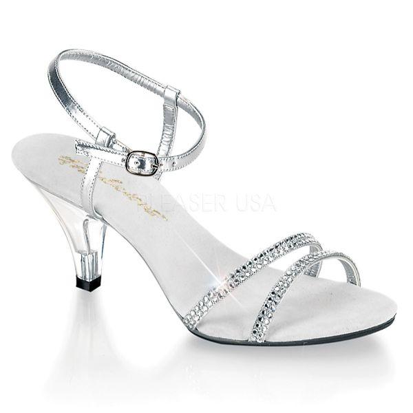 Klassische Sandalette mit strassbesetzten Riemchen silber Kunstleder BELLE-316